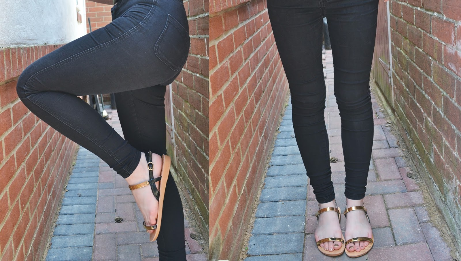 black jeans gold sandals