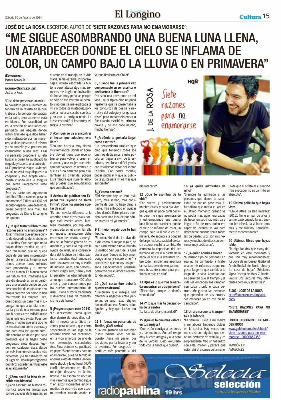"""Entrevista en el diario """"El Longino"""", de Chile."""