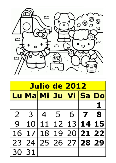 Calendario de Hello Kitty para colorear de 2012 (3ª parte)