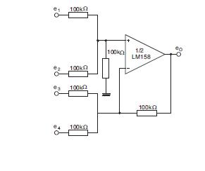 LM358 Amplificador sumador.