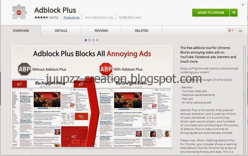 ekstensi adblock plus dapat diunduh pada halaman berikut https chrome