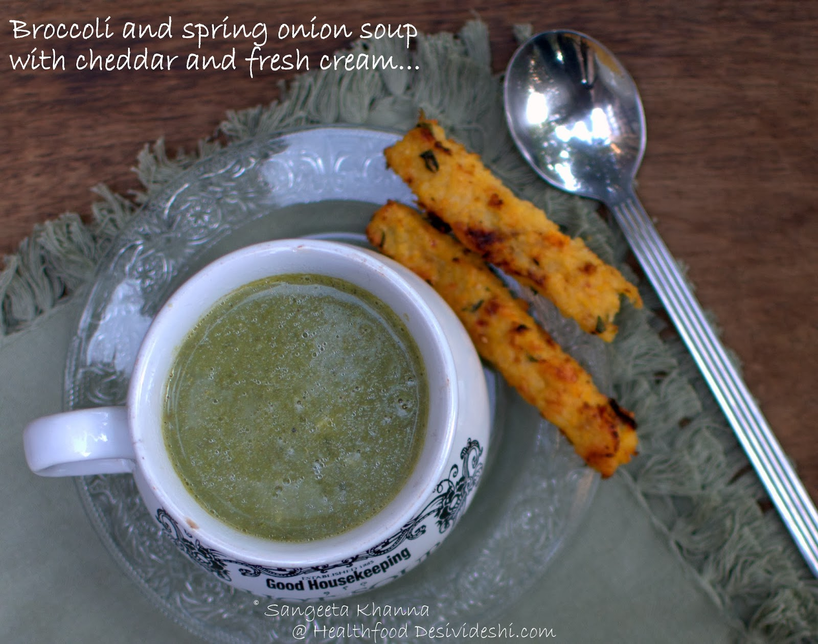 broccoli and spring onion soup with cheddar and fresh ...