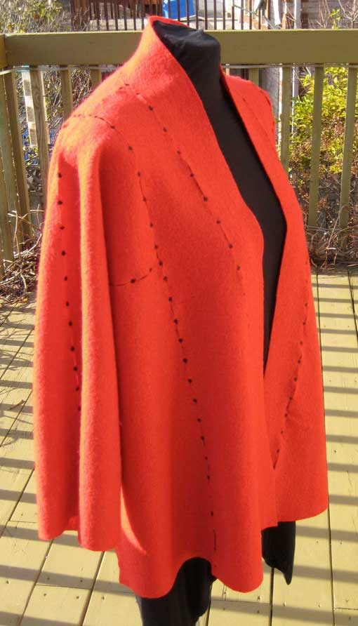 Red Boiled Wool Jacket - side view