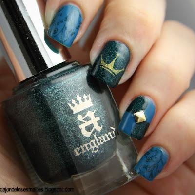 nail art medieval Saint George - Aengland y Color Show - Shocking Seas.