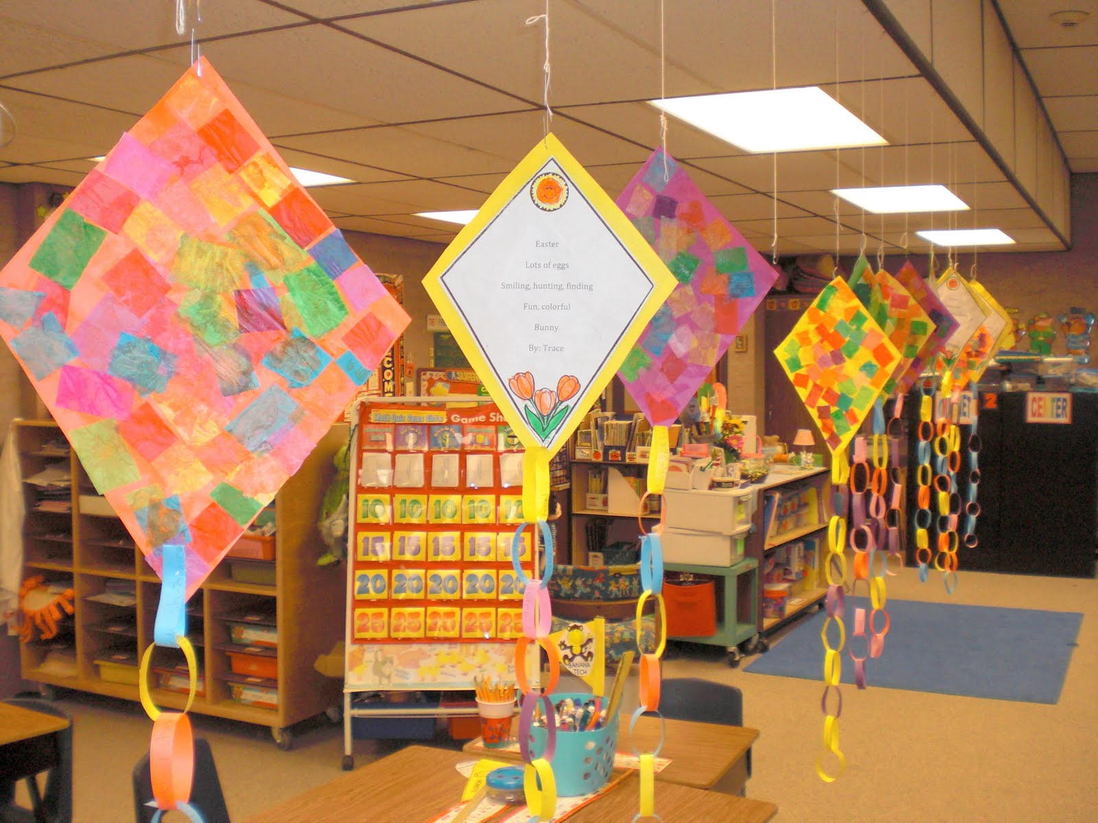 Classroom Hanging Decor ~ Patties classroom kites and diamonte poems