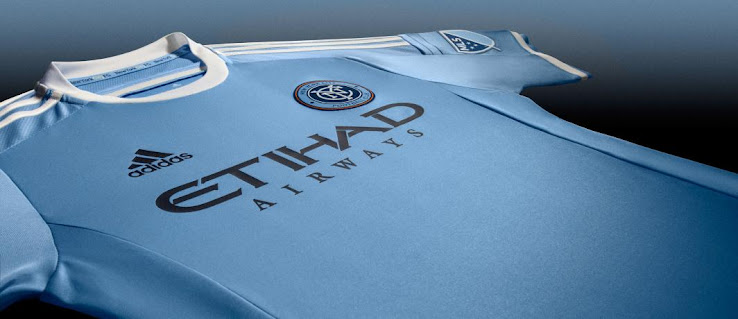 With sky blue 3 stripes complete the new york city fc 2015 home kit