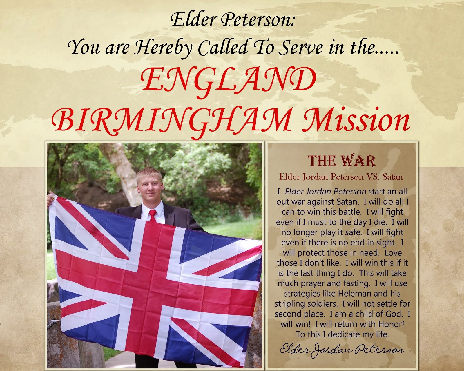 Elder Peterson: You Are Hereby Called To Serve in the....ENGLAND BIRMINGHAM MISSION
