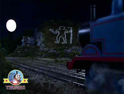 Rheneas Thomas the tank engine party Mr Perceval wonderful moon light glowing white man in the hills