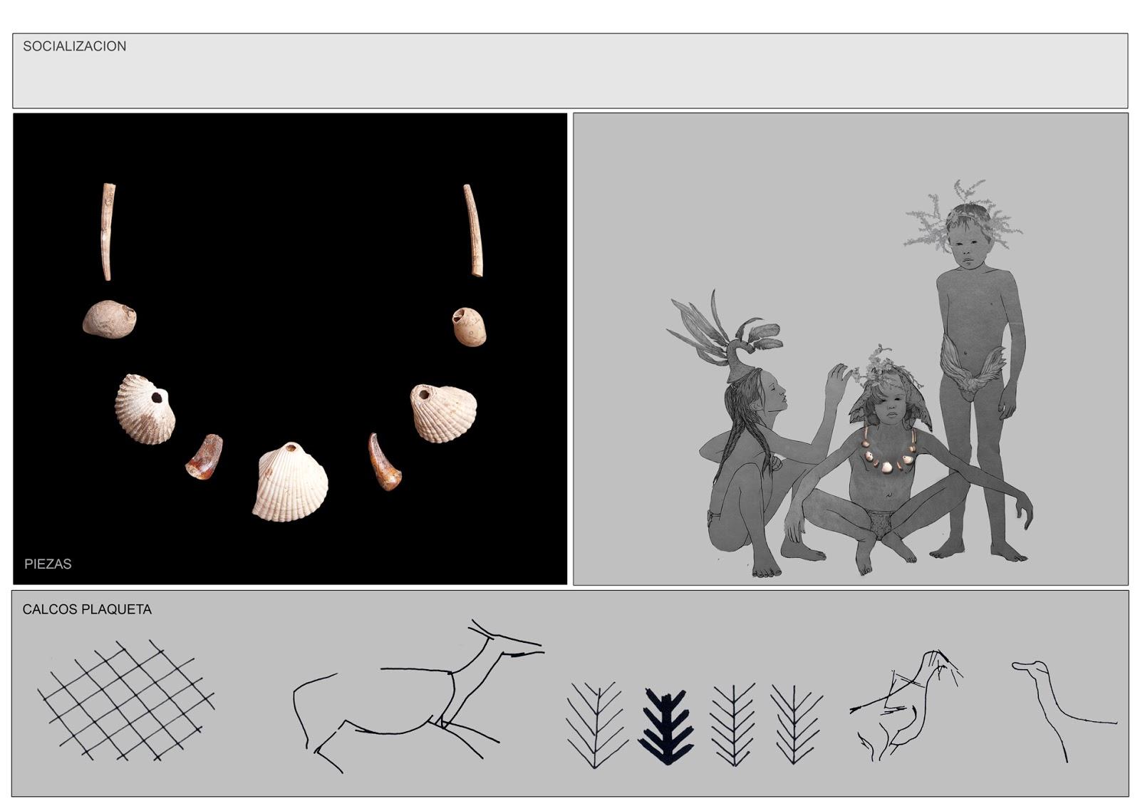 collar de conchas y caracolas, museo prehistoria Valencia, plaquetas, dibujo