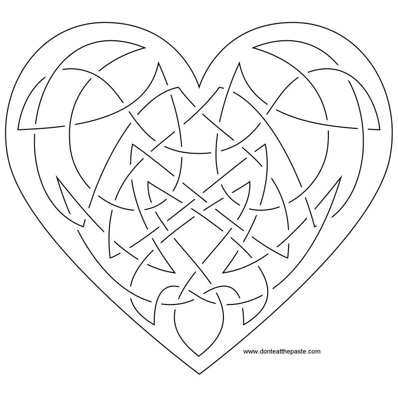 Heart Knot Embroidery Pattern #embroidery #knotwork #hearts