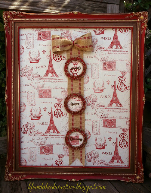 "alt=""Annie Sloan Chalk Paint Emperor's Red, Dark Wax Antique keys frame makeover"""