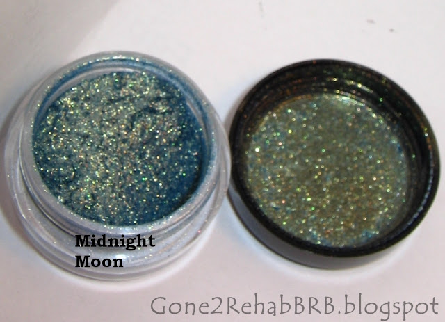 Sweetscents mineral eyeshadow swatches in shade Midnight Moon