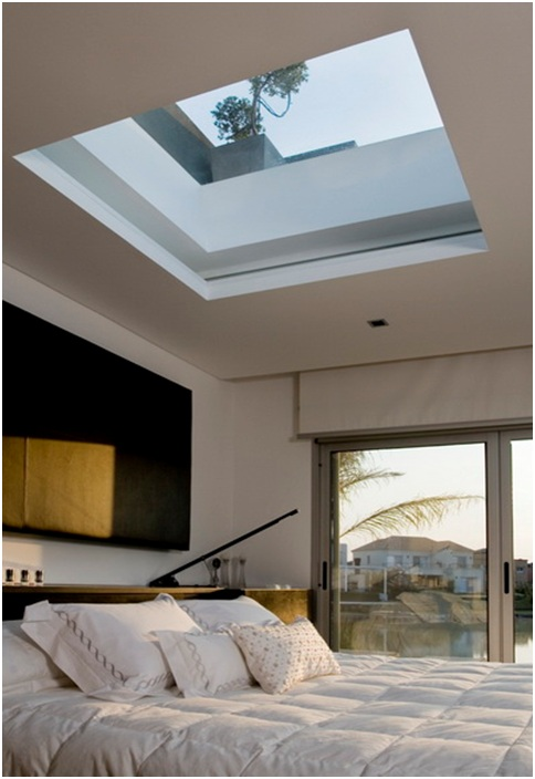 Bedroom windows on the roof ceiling window bedroom for Puit de lumiere led