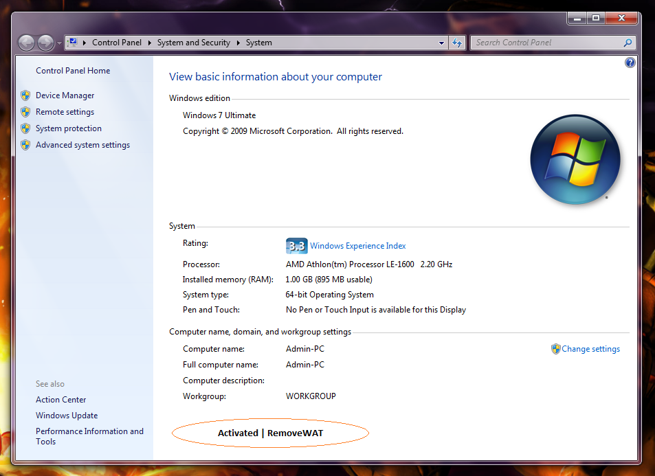 windows 7 activation removewat