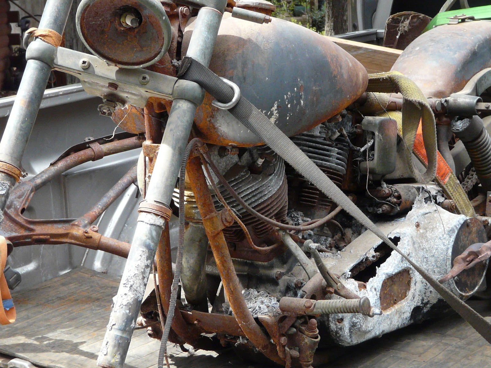 Rusty 1980 Harley Shovelhead Motorcycle Left View