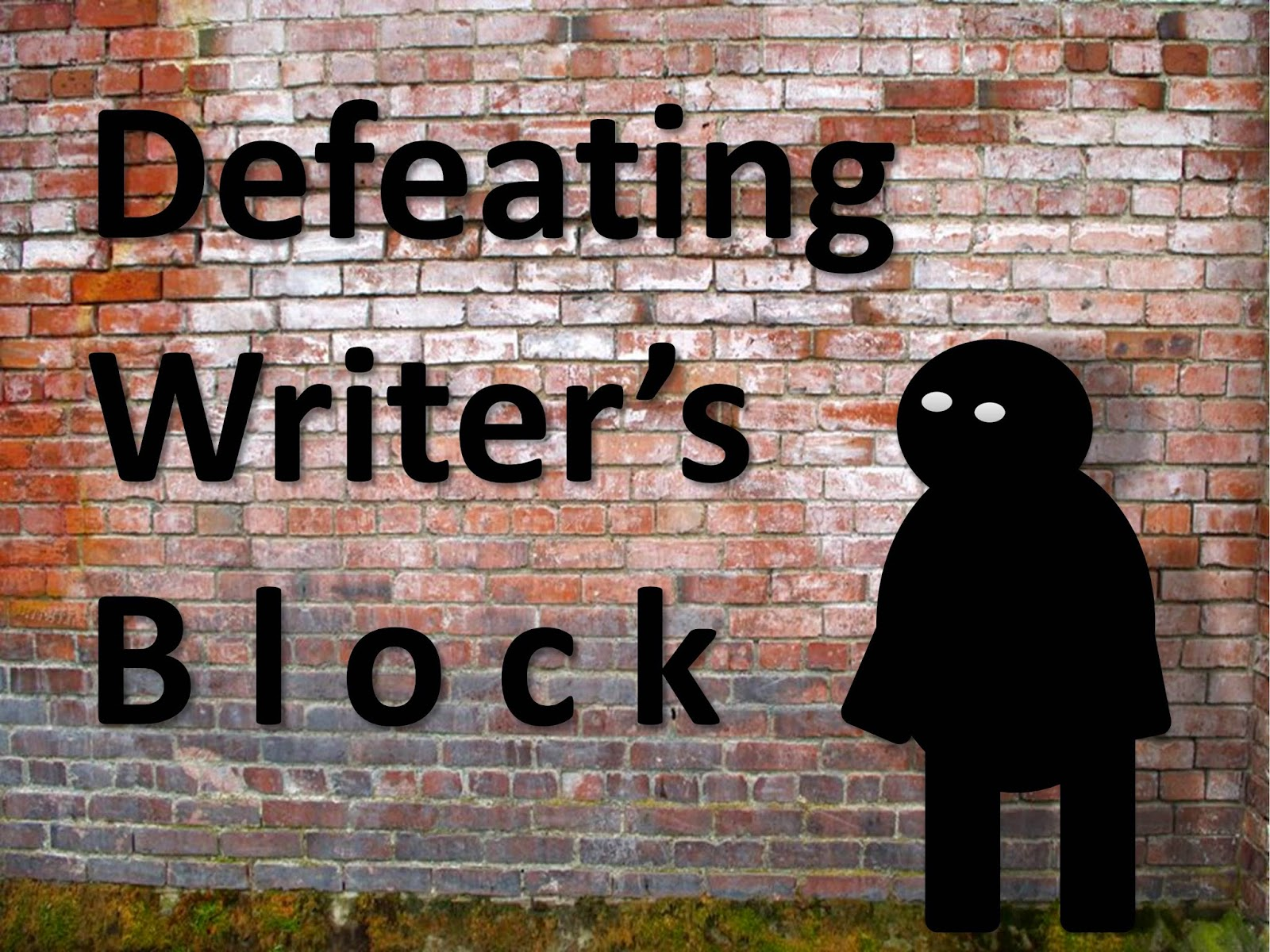 Writer's block, depicted as a shadowy monster, stands in front of a brick wall.