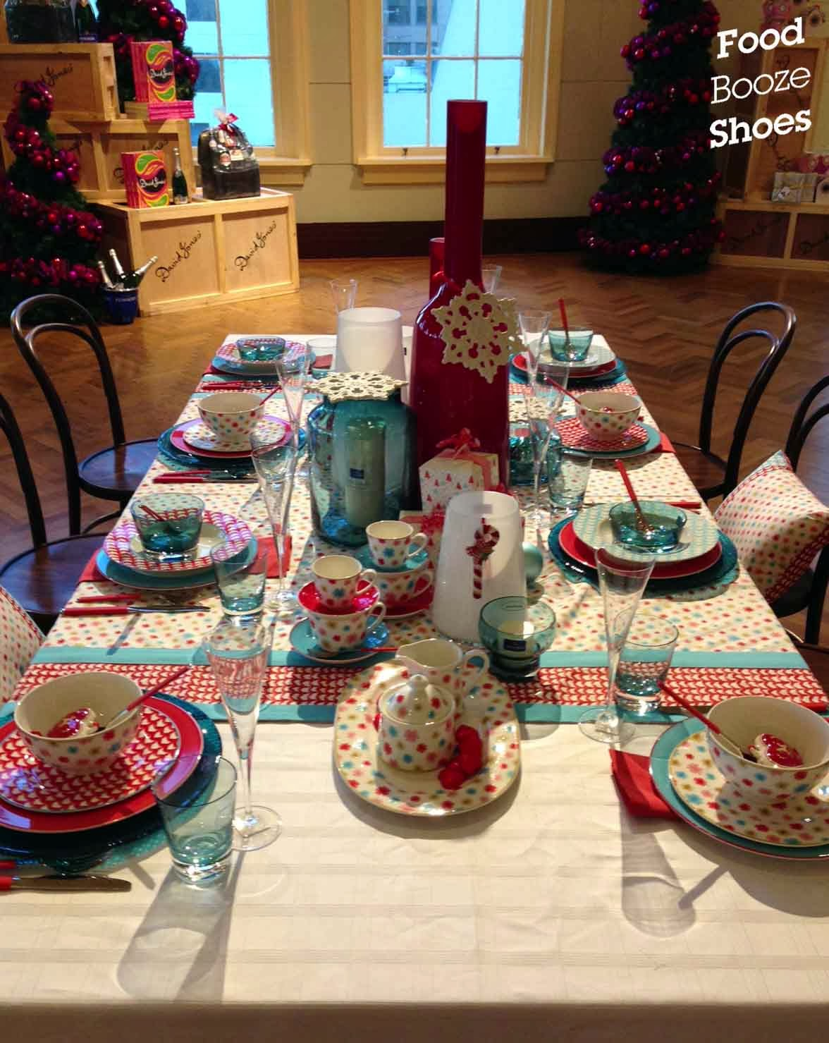 Food booze and shoes christmas lunch david jones style for Christmas lunch table setting ideas