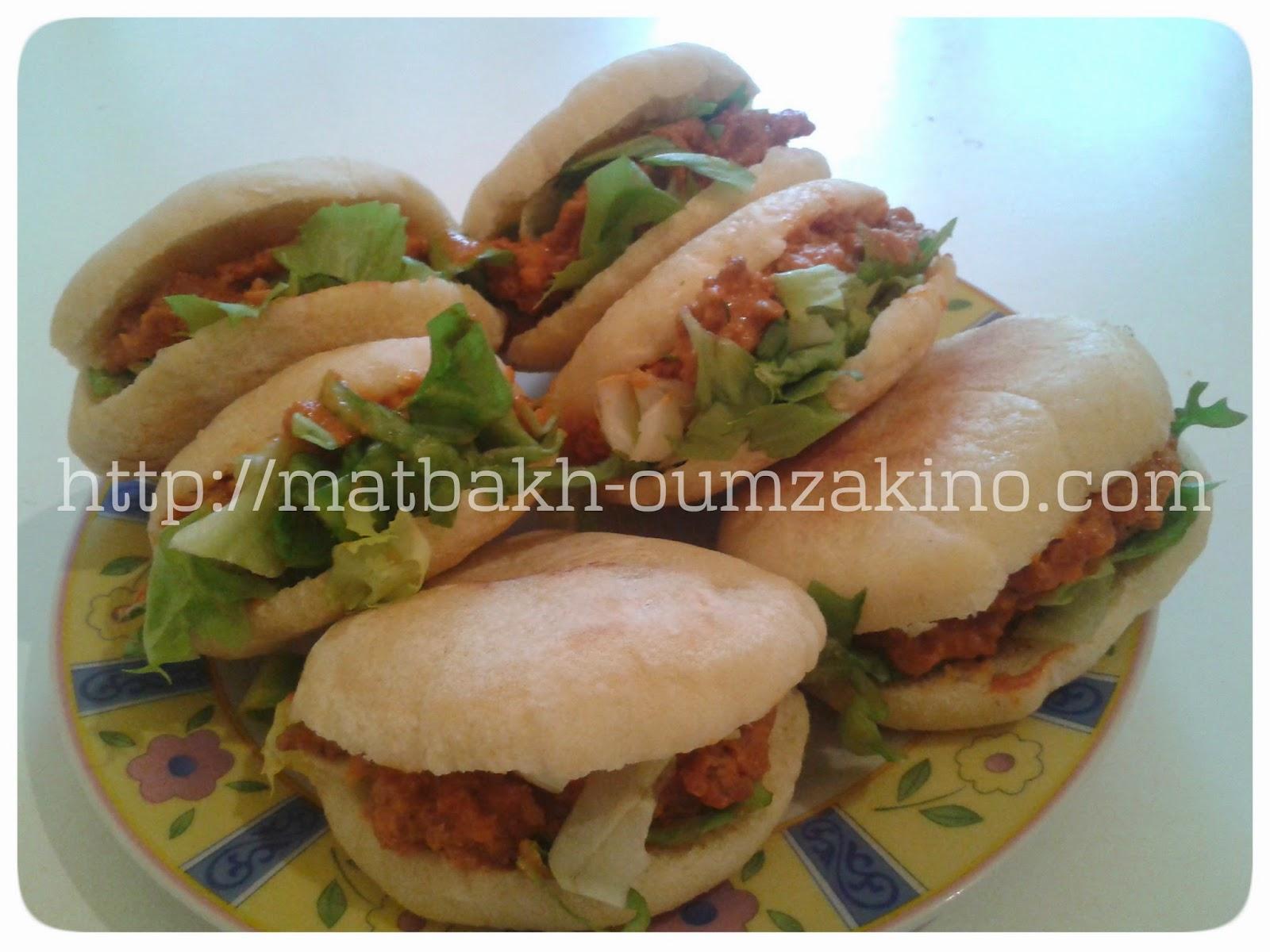 Mini batbout salade viande haché oignion à la creme matbakh-oumzakino