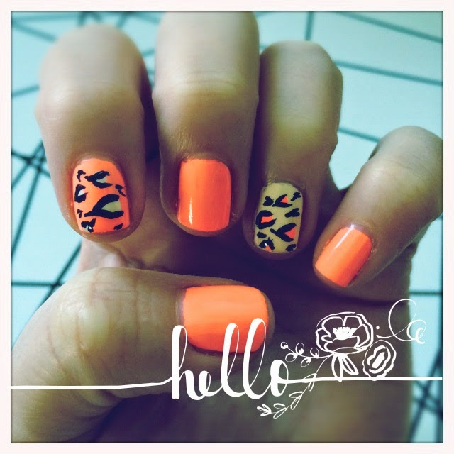 Vibrant Peach and DIY Leopard Spots, nails. The Graffitied Gardenia.