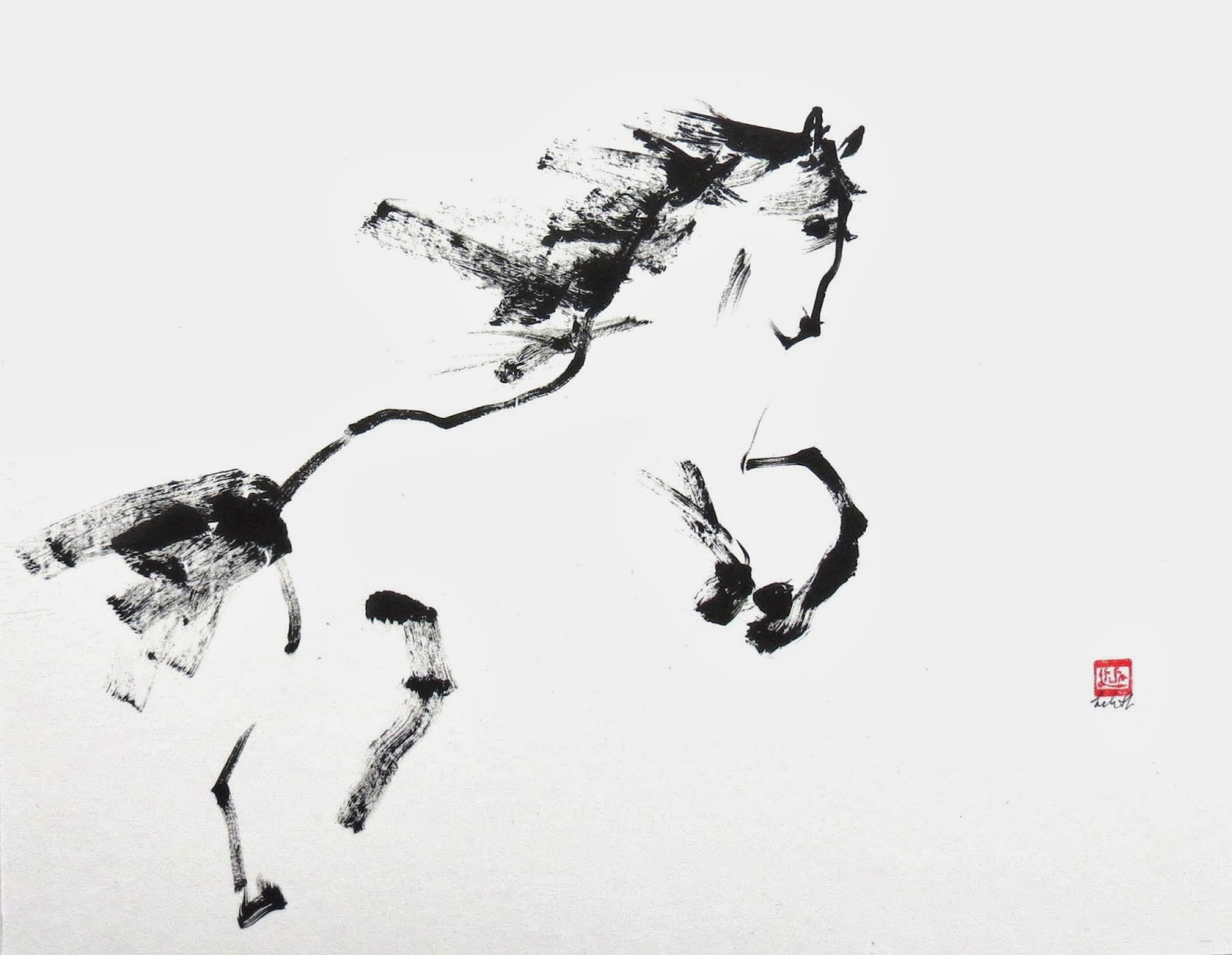 Tao Te Ching for Artists sumi-e painting of horse for the year of the horse.