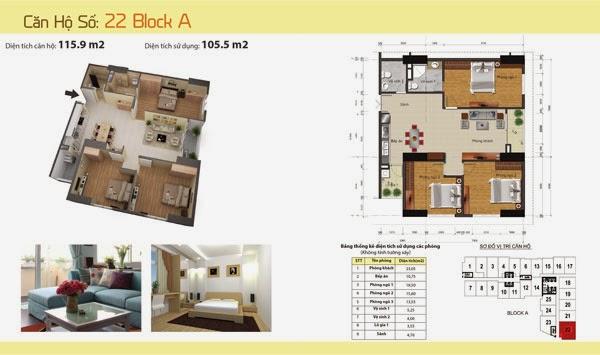 Căn 105,5m2 dự án chung cư Gemek Tower