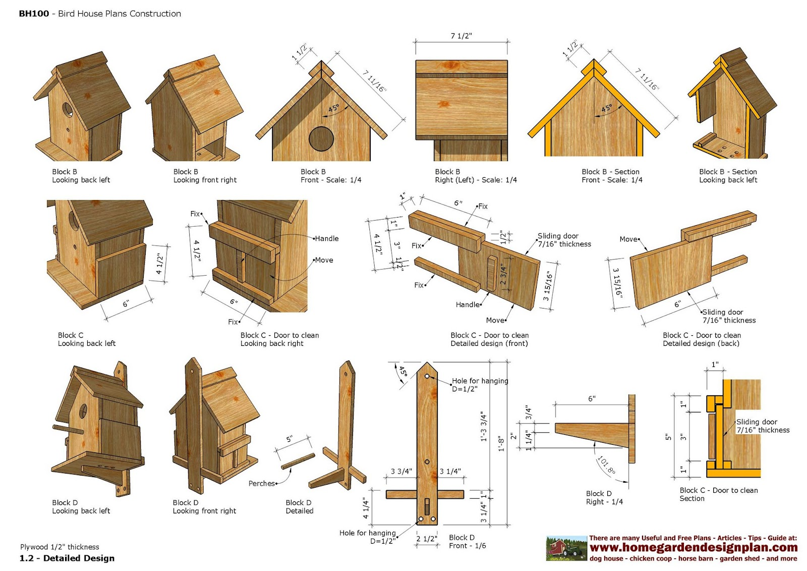 Home garden plans bh bird house plans construction for Construction house plans