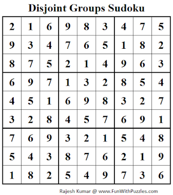 Disjoint Groups Sudoku (Fun With Sudoku #69) Solution