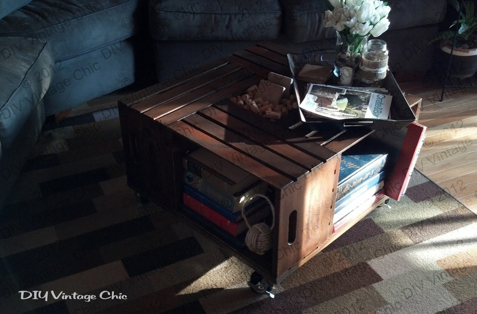 Diy vintage chic vintage wine crate coffee table for Where can i find old wine crates