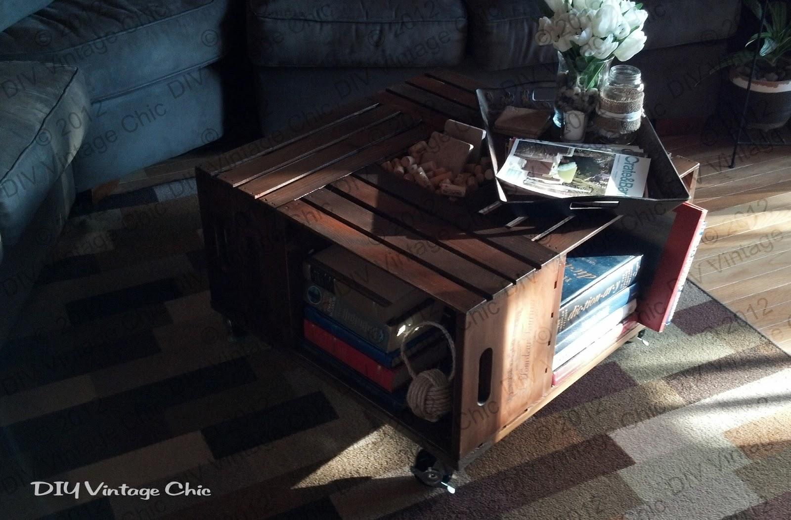 DIY Vintage Chic Vintage Wine Crate Coffee Table
