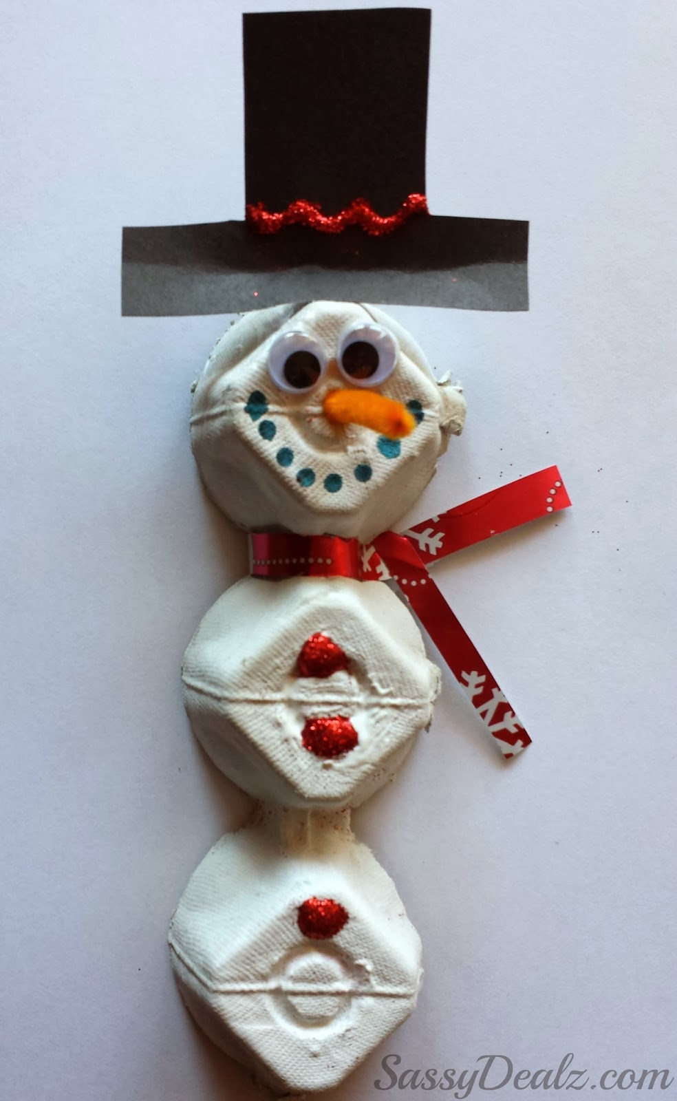 Diy egg carton snowman craft for kids crafty morning for Christmas decorations using egg cartons