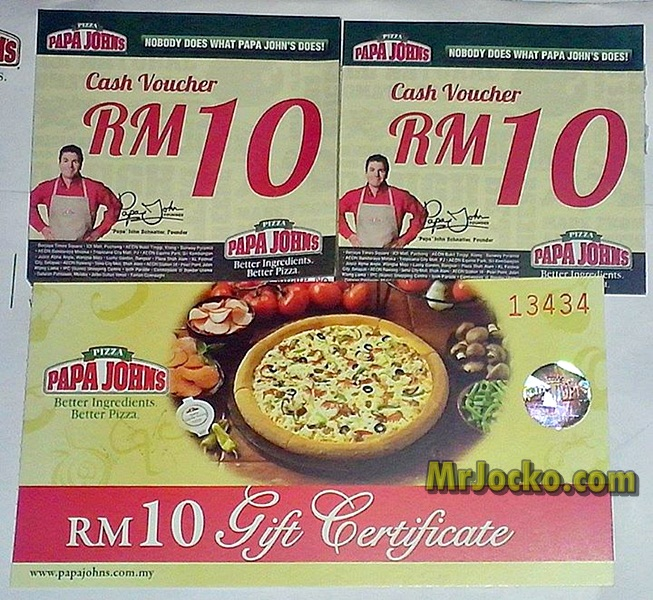 RM50 Papa Johns Pizza Give Away dari MrJocko.com