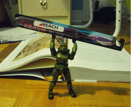 master chief with reach toothbrush