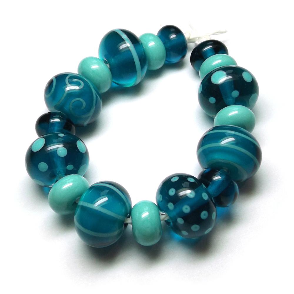 Lampwork glass beads made with CiM 'Marine'