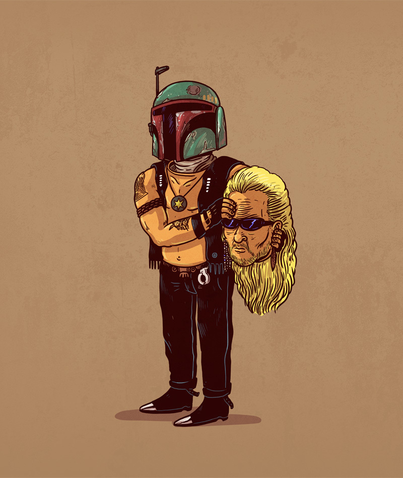 11-Boba-Fett-and-Dog-the-Bounty-Hunter-Alex-Solis-Illustrations-of-Icons-Unmasked-www-designstack-co