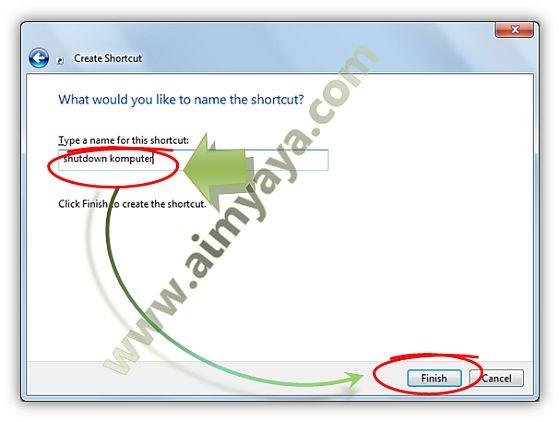 Gambar: Memberi nama untuk shortcut yang akan dibuat