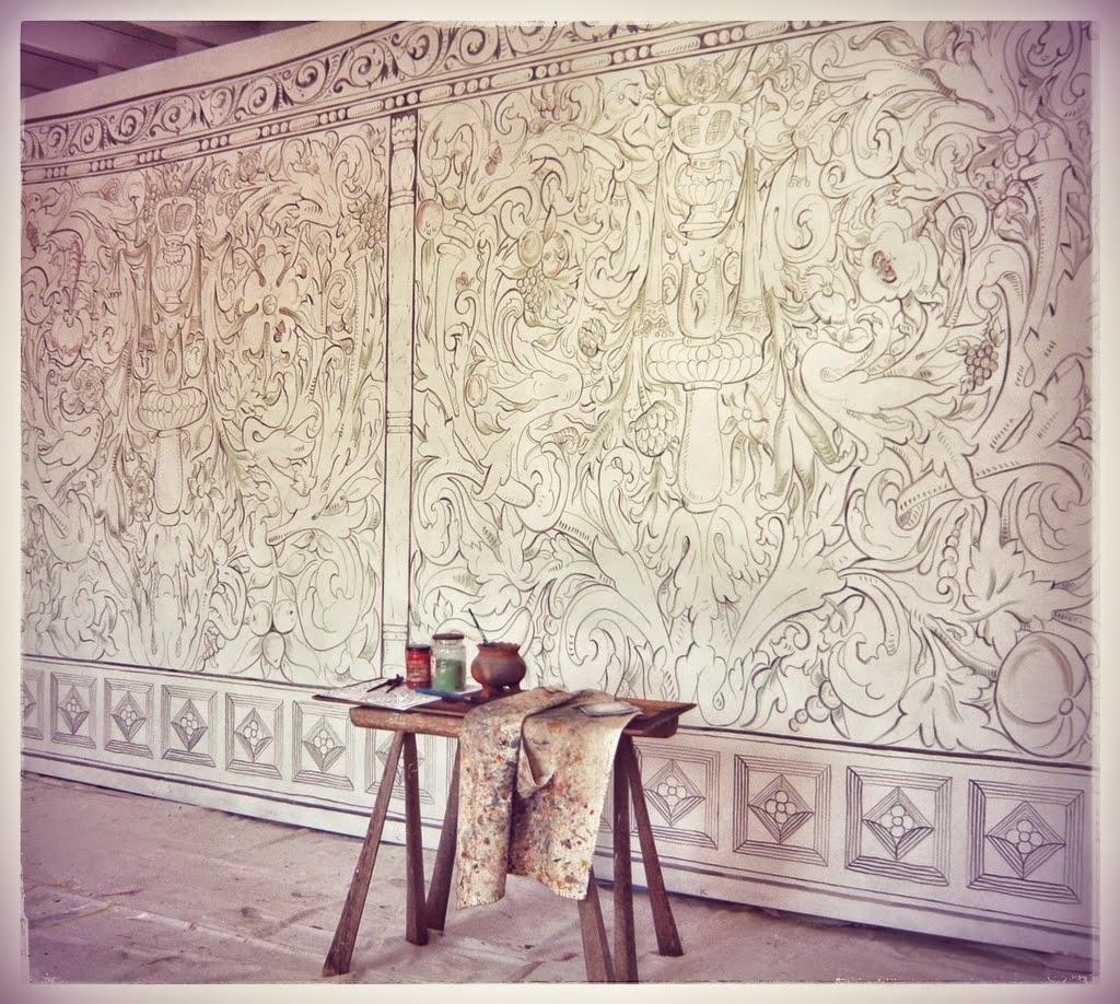 """Reproduction Elizabethan painted cloth: """"Kent Multivine"""""""