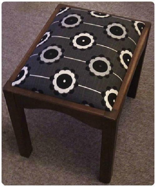 craftypainter: Re-upholstered Stool