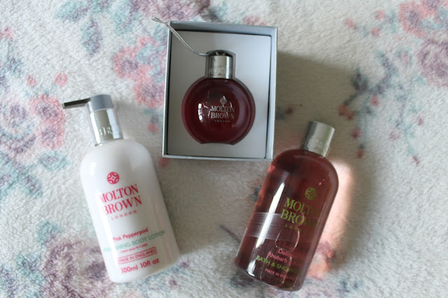What I Got For Christmas: Beauty Edition  Molton Brown Pink Pepperpod Body Lotion Body Wash Bauble Rhubarb & Rose Bath & Shower Gel