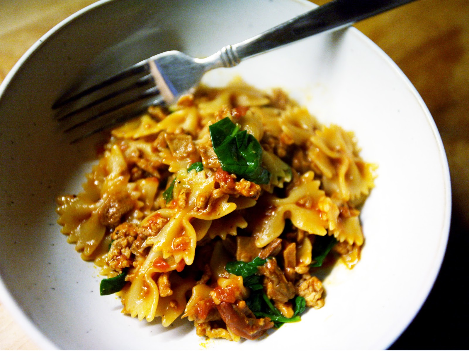 ... : Delicious Spring Pasta: Farfalle with Veal, Porcini, and Spinach
