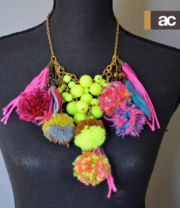 pom pom statement necklace