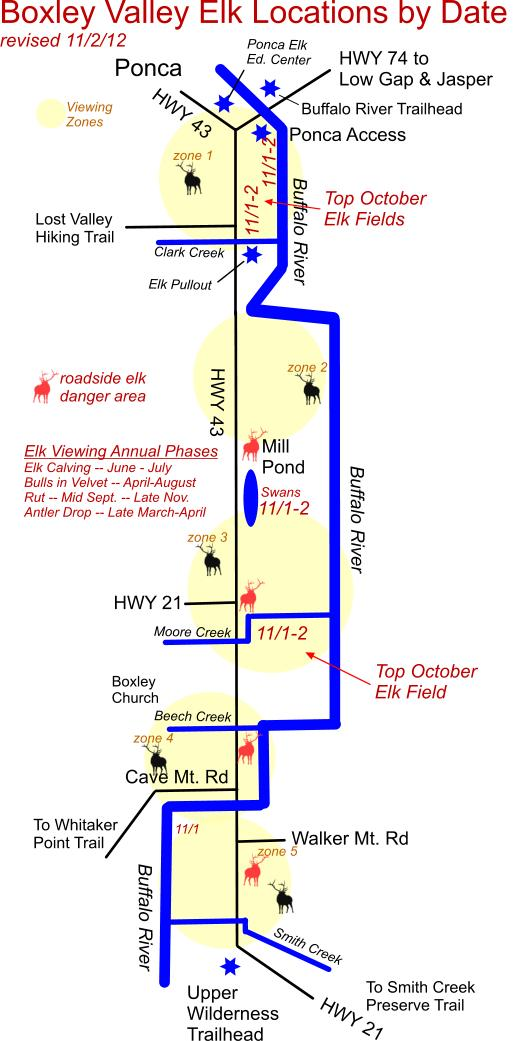 Elk Herd Location Map 11/2/12