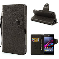 Leather Case Wallet Stand with Card Slot for Sony Xperia Z1 Honami C6906 C6903 C6902 C6943 L39h - Black