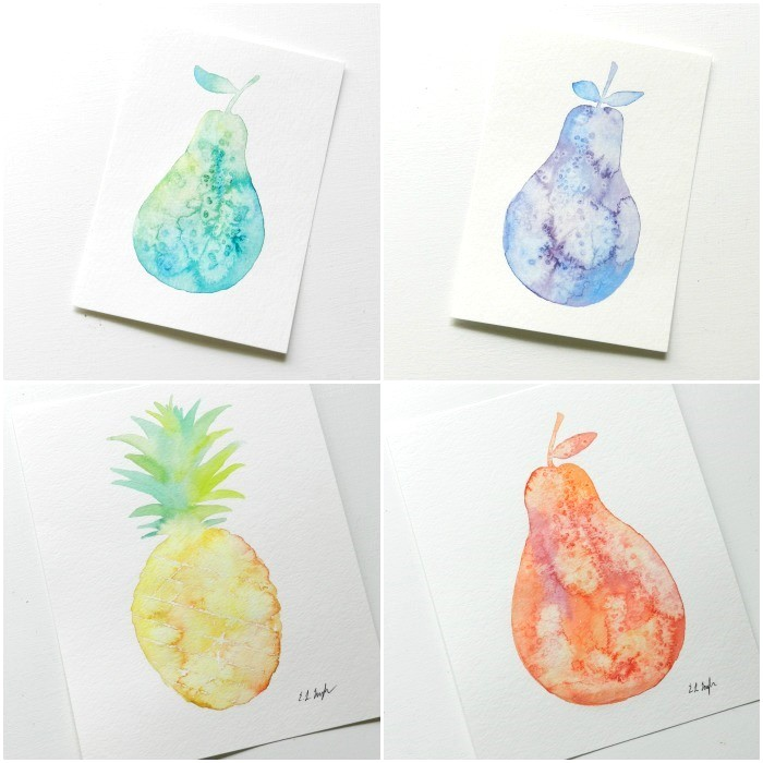 Watercolor Fruit Silhouette Paintings: Grow Creative
