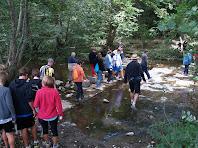 Creuant el riu Ges després de la Fàbrica de Targarona