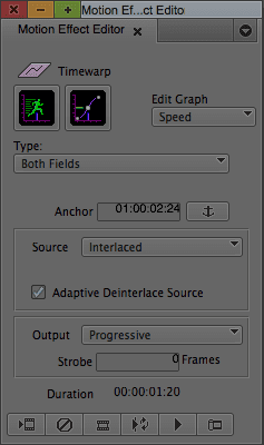 Creating progressive footage with the Timewarp effect in Avid.