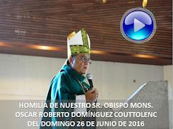 VIDEO DE LA HOMILÍA DEL SR. OBISPO, DEL DÍA 26 DE JUNIO DE 2016