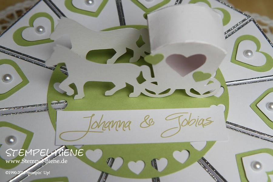 Stempel-Biene: Eine gebastelte Hochzeitstorte mit Pferdekutsche als ...
