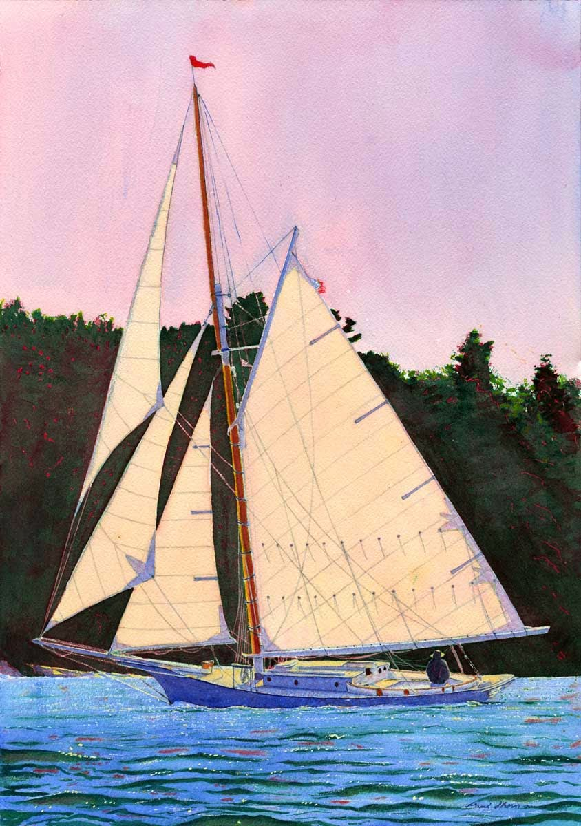 "Friendship Sloop Off Farnham Point, East Boothbay - Watercolor 14"" x 20"""