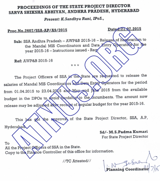 RC.2607,Release of  Release of MIS Coordinators and DEOs salary
