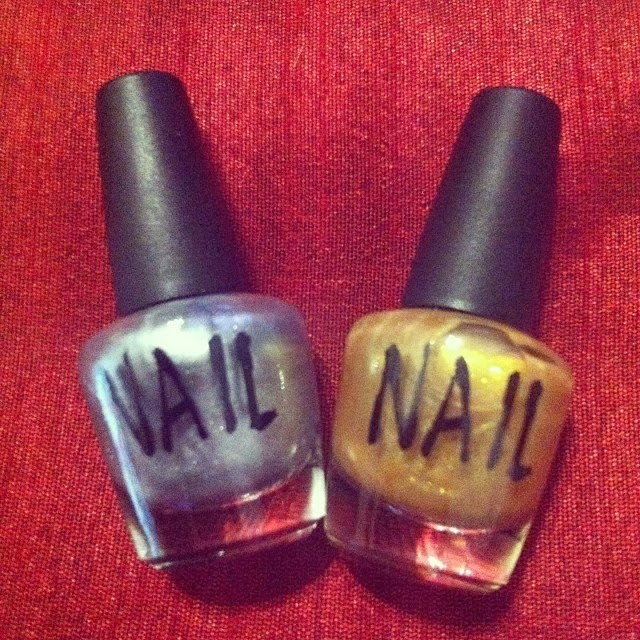 gold and silver nail polish